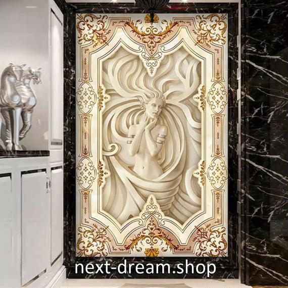 3D 壁紙 玄関用 1ピース 1㎡ ヨーロッパレトロ 彫刻 インテリア 装飾 部屋 耐水 防湿 耐衝撃 騒音吸収 h02746