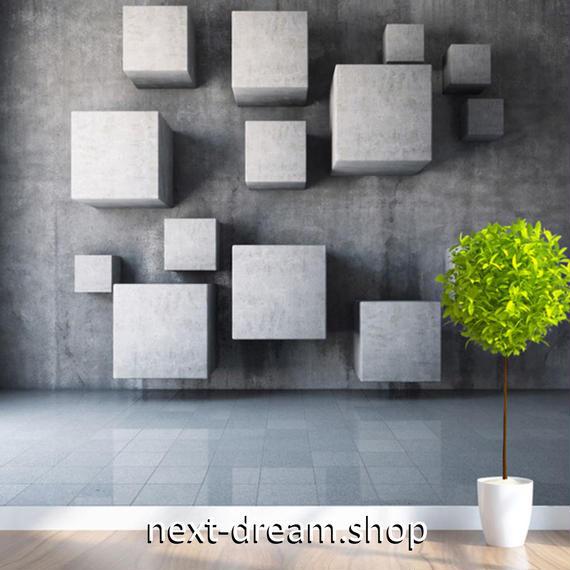 3D 壁紙 1ピース 1㎡ 立体空間 近未来 グレー DIY リフォーム インテリア 部屋 寝室 防湿 防音 h03204