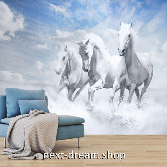 3D 壁紙 1ピース 1㎡ 自然風景 走る馬 青空 DIY リフォーム インテリア 部屋 寝室 防湿 防音 h03201