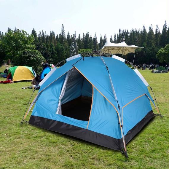 ワンタッチテント 3-4人用 二重層 防風 防水 UV 超軽量 アウトドア キャンプ 登山 ビーチ 釣り k00019