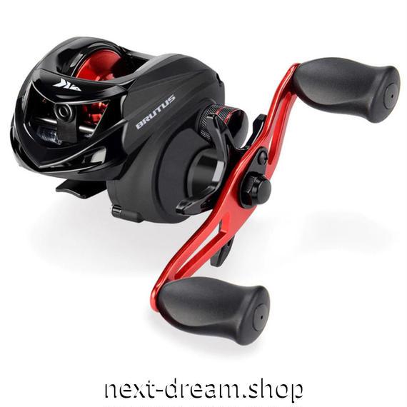 新品 ベイトリール 釣り道具 フィッシング 強力アルミハンドル 快適ノブ 黒×赤 右ハンドル 左ハンドル m01924