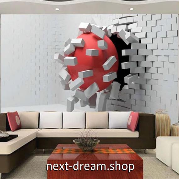 3D 壁紙 1ピース 1㎡ 立体空間 レンガの壁 赤ボール DIY リフォーム インテリア 部屋 寝室 防湿 防音 h03236
