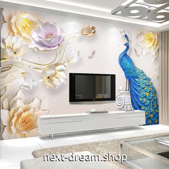 3D 壁紙 1ピース 1㎡ ヨーロッパ 孔雀 花 DIY リフォーム インテリア 部屋 寝室 防湿 防音 h03246