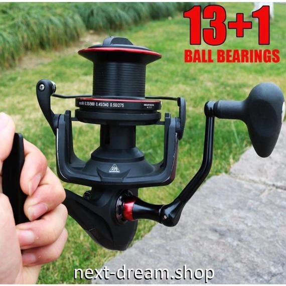 新品 スピニングリール 釣り道具 フィッシング サイズ10000 鯉釣り フルメタルスプール 高性能ベアリング 黒×赤 m01998