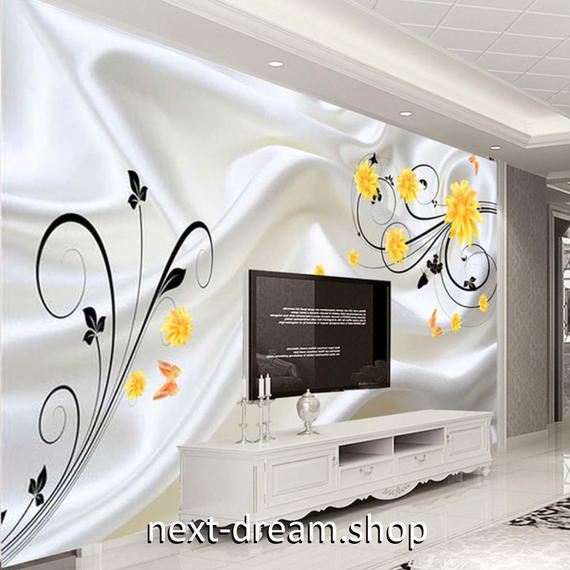 3D 壁紙 1ピース 1㎡ シルクの布 黄色い花 DIY リフォーム インテリア 部屋 寝室 防湿 防音 h03239