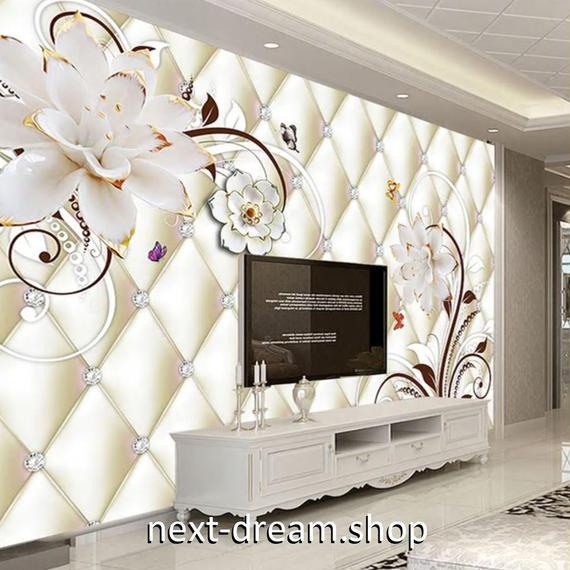 3D 壁紙 1ピース 1㎡ 白い花 ヨーロッパモダン DIY リフォーム インテリア 部屋 寝室 防湿 防音 h03199