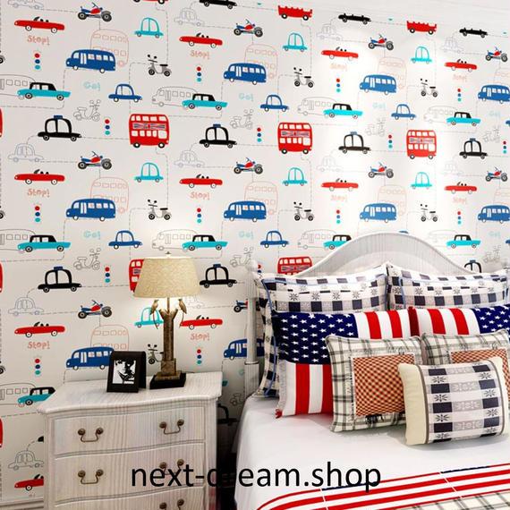 3D 壁紙 53×1000㎝ 子供部屋 車 乗り物 DIY 不織布 カビ対策 防湿 防水 吸音 インテリア 寝室 リビング h02044