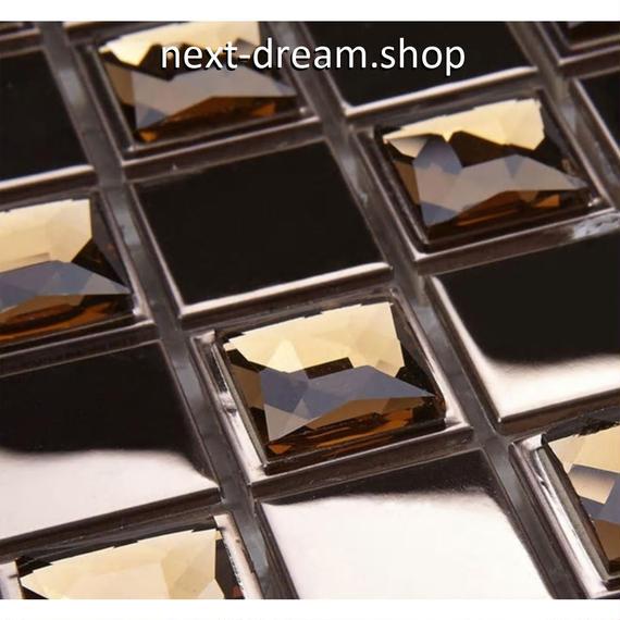 3D壁紙 30×30cm 11枚セット モザイクタイル 茶色 ビジュー DIY リフォーム インテリア 部屋/キッチン/トイレにも h04371