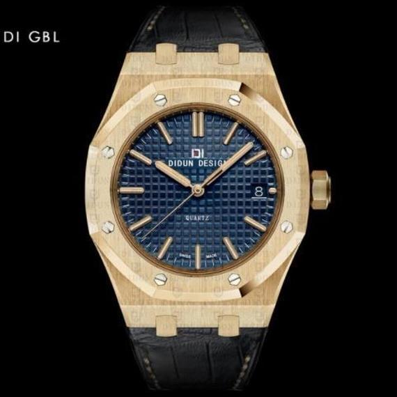 Didun 高級腕時計 クォーツ 耐衝撃 30メートル防水 レザーバンド 希少品 DI GBL 00120