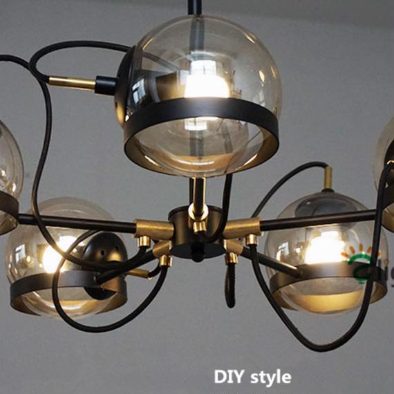 ペンダントライト 照明 LED ボール型照明×5 シャンデリア ダイニング リビング キッチン 寝室 アメリカンレトロ h01532