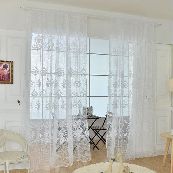 希少 癒しのカーテン かわいい 太陽柄 寝室 リビングルーム レース W100cm-H200cm 00439