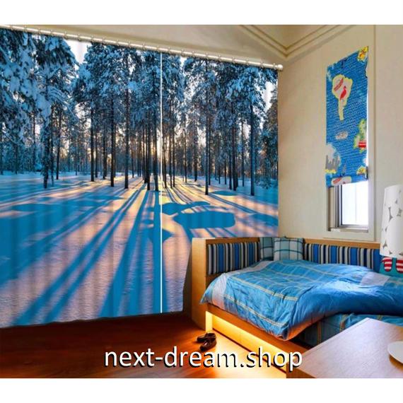 3D 遮光カーテン 203×213cm サイズ多数◎ 雪景色 林 サンセット DIY おしゃれ 模様替 子供部屋 オフィス 店舗用  m01803