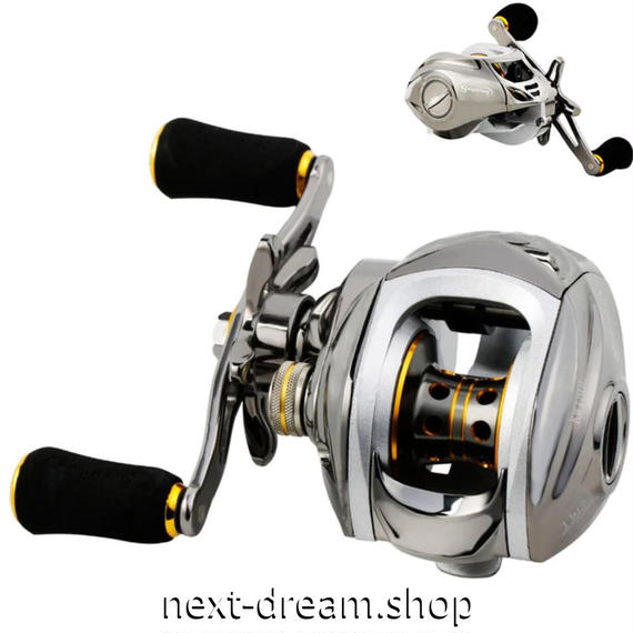 新品 ベイトリール 釣り道具 お洒落 フィッシング  高速 オレンジゴールド×シルバー 磁気ブレーキシステム 右ハンドル 左ハンドル m01977