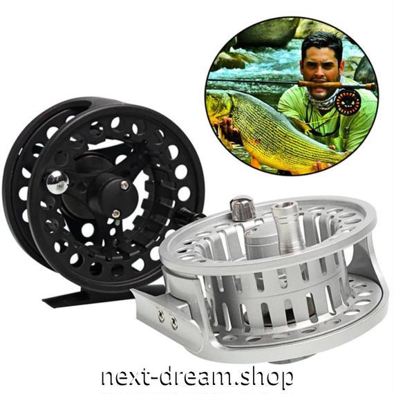 新品 フライリール 釣り道具 お洒落 フィッシング スプール ドラグ  ブラック シルバー 5/6 魚 アルミ合金 m01995