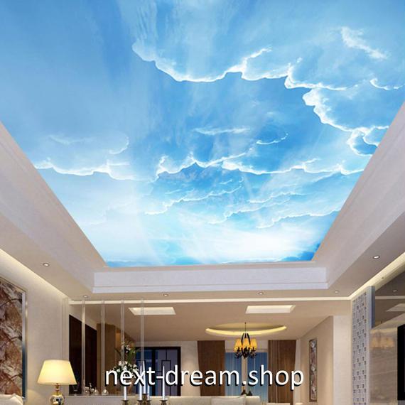3D 壁紙 1ピース 1㎡ 自然風景 青い空と白い雲 天井用 インテリア 装飾 寝室 リビング 耐水 防湿 h02664