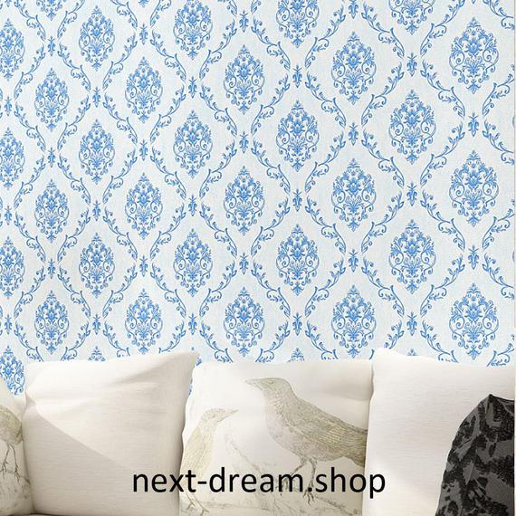 3D 壁紙 53×1000㎝ 花柄 ダマスク DIY 不織布 カビ対策 防湿 防水 吸音 インテリア 寝室 リビング h02085