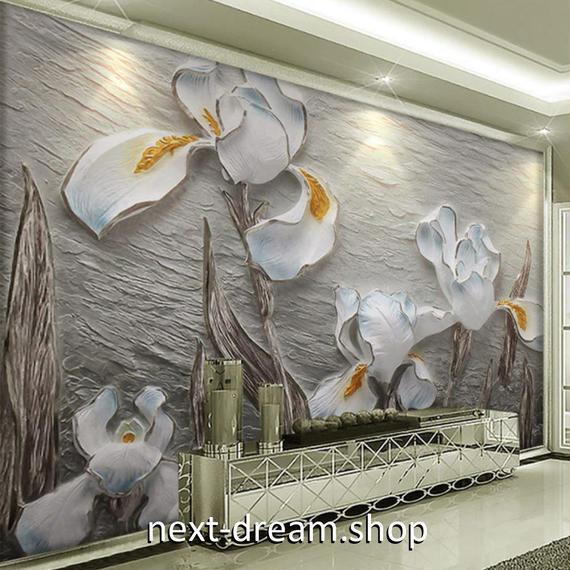 3D 壁紙 1ピース 1㎡ 立体アート 蘭の花 白 DIY リフォーム インテリア 部屋 寝室 防湿 防音 h03266