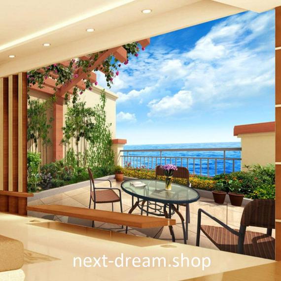 3D 壁紙 1ピース 1㎡ 自然風景 バルコニー 庭 ガーデン 海 インテリア 装飾 寝室 リビング h02148