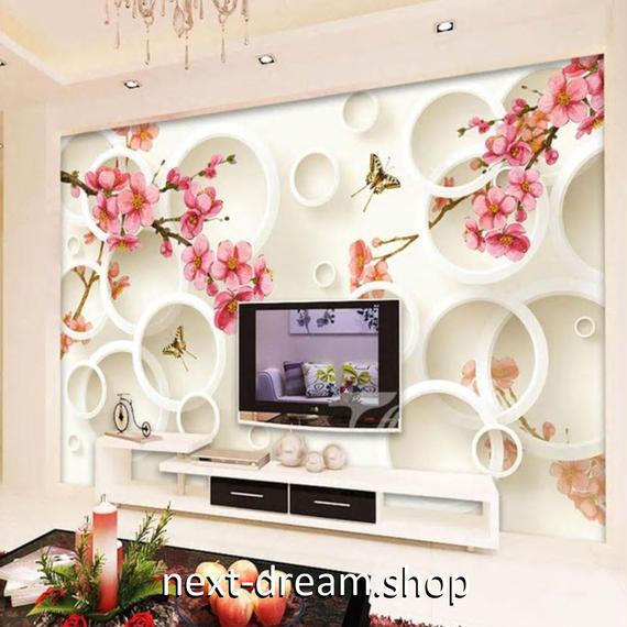 3D 壁紙 1ピース 1㎡ 和風モダン 梅の木 蝶々 DIY リフォーム インテリア 部屋 寝室 防湿 防音 h03211