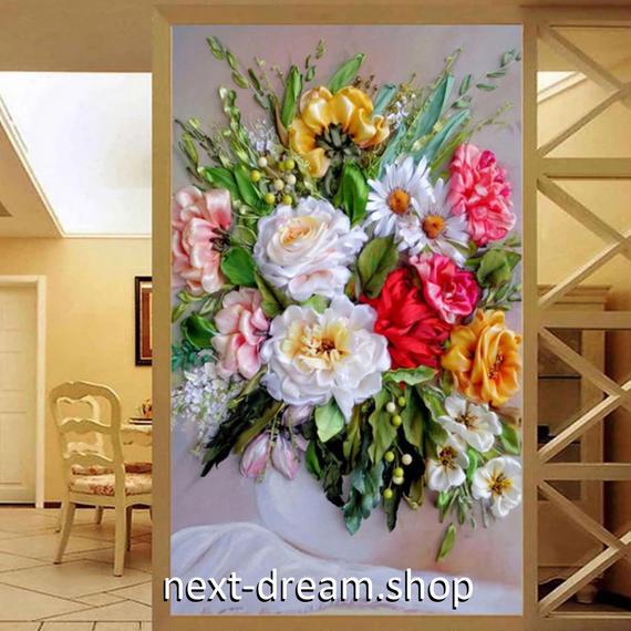 3D 壁紙 玄関用 1ピース 1㎡ 立体フラワー 花束 インテリア 装飾 部屋 耐水 防湿 耐衝撃 騒音吸収 h02726