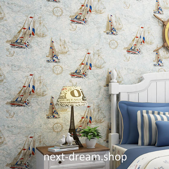3D 壁紙 53×1000㎝ 子供部屋 船 海 DIY 不織布 カビ対策 防湿 防水 吸音 インテリア 寝室 リビング h02087