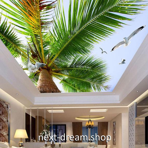 3D 壁紙 1ピース 1㎡ 自然風景 ヤシの木 ココナッツ かもめ 天井用 インテリア 装飾 寝室 リビング 耐水 防湿 h02666