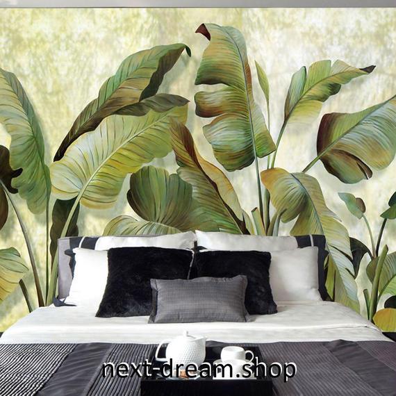 3D 壁紙 1ピース 1㎡ 自然風景 癒し トロピカル グリーンバナナの葉 インテリア 装飾 寝室 リビング h02169