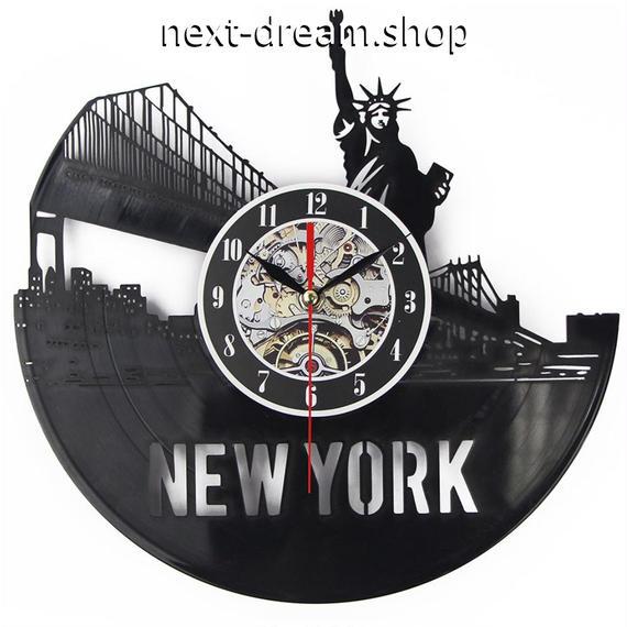 新品送料込★ 時計 壁掛け 輪列 自由の女神 NY ニューヨーク  DIY お洒落 面白 輸入雑貨 インテリア 高性能  m01558