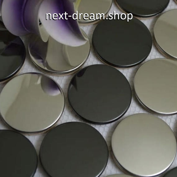 3D壁紙 29.8×32.2cm 11枚セット 丸タイル 黒×銀 ステンレス DIY リフォーム インテリア 部屋/キッチン/トイレにも h04372
