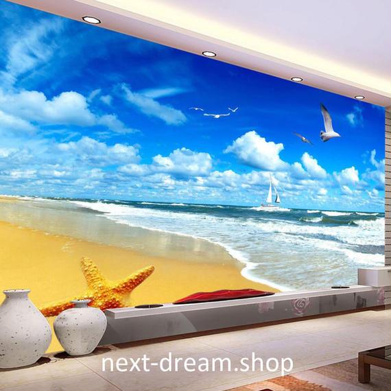 3D 壁紙 1ピース 1㎡ 自然風景 海 ビーチ ヒトデ カモメ 空 おしゃれクロス インテリア 装飾 寝室 リビング h02159