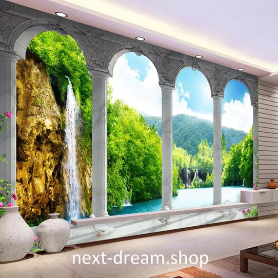 3D 壁紙 1ピース 1㎡ 自然風景 パレス 滝 森林 緑 インテリア 装飾 寝室 リビング h02154