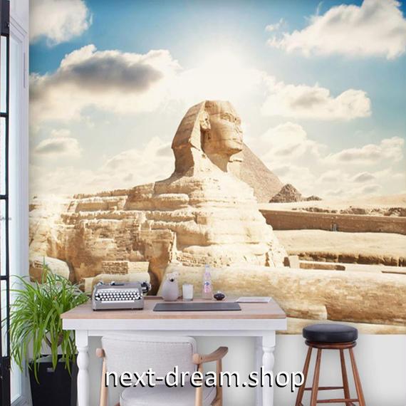 3D 壁紙 1ピース 1㎡ シティ風景 スフィンクス エジプト DIY リフォーム インテリア 部屋 寝室 防湿 防音 h03319