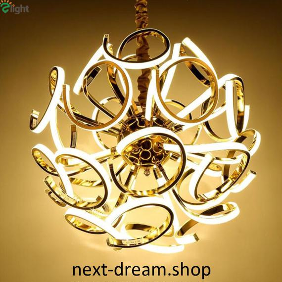 ペンダントライト 照明×18 LED ゴールドボディ 球状 調光可能 ダイニング リビング キッチン 寝室 北欧モダン h01602
