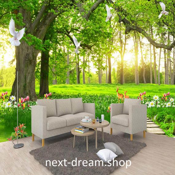 3D 壁紙 1ピース 1㎡ 自然風景 森林浴 癒し 大木 緑 鳥 インテリア 装飾 寝室 リビング h02162