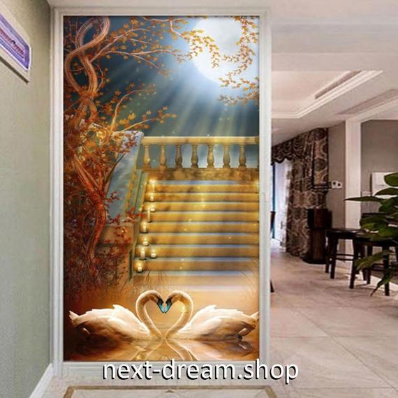 3D 壁紙 玄関用 1ピース 1㎡ ヨーロッパ 白鳥 満月 インテリア 装飾 部屋 耐水 防湿 耐衝撃 騒音吸収 h02735