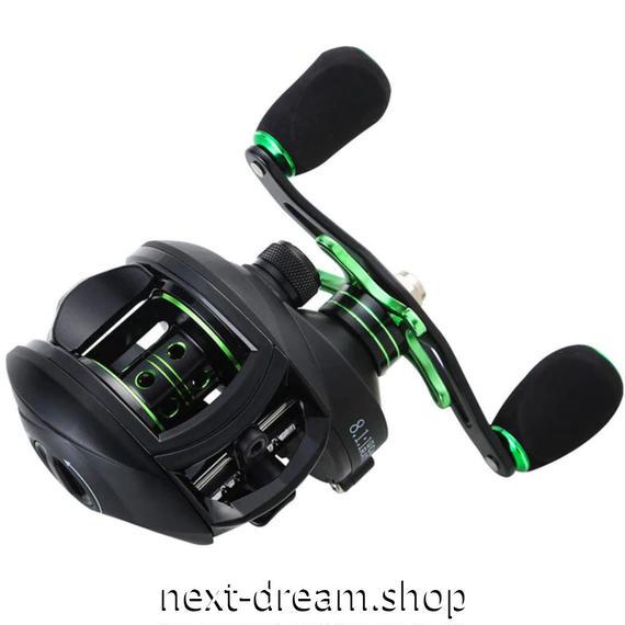 新品 ベイトリール 釣り道具 お洒落 フィッシング  高速 黒×メタルグリーン 左手 右手 ルアー釣り ハンドル m01984