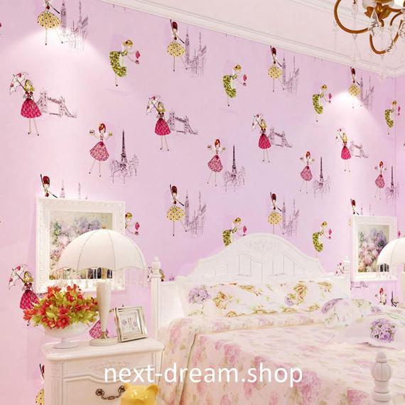 3D 壁紙 53×1000㎝ 子供部屋 バレエガール DIY 不織布 カビ対策 防湿 防水 吸音 インテリア 寝室 リビング h02036