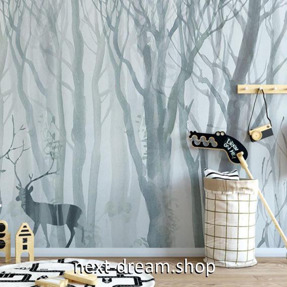 3D 壁紙 1ピース 1㎡ 水彩画 エルクの住む森 絵画 DIY リフォーム インテリア 部屋 寝室 防湿 防音 h03196