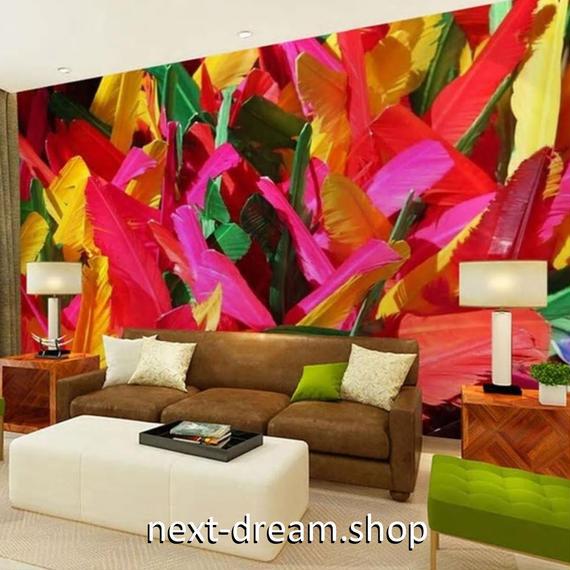 3D 壁紙 1ピース 1㎡ 羽根 黄色 赤 ピンク 緑 DIY リフォーム インテリア 部屋 寝室 防湿 防音 h03213