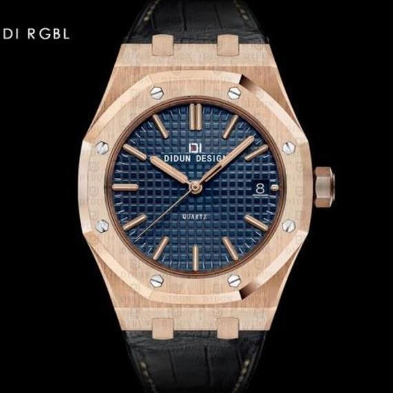 Didun 高級腕時計 クォーツ 耐衝撃 30メートル防水 レザーバンド 希少品 DI RGBL 00120