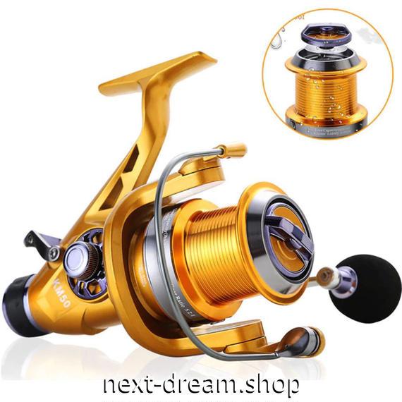 新品 スピニングリール 釣り道具 フィッシング 右/左インター変更 高性能ベアリング 鯉釣り シルバー×ゴールド 5000 6000番 m02018