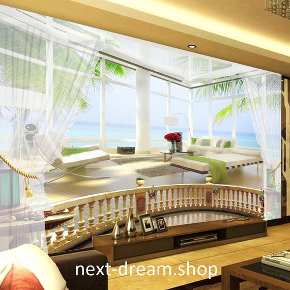 3D 壁紙 1ピース 1㎡ 自然風景 窓 海 海外 ベッドルーム インテリア 装飾 寝室 リビング h02153
