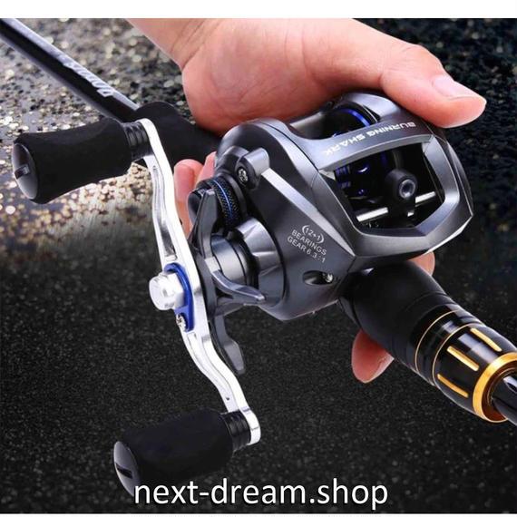 新品 ベイトリール 釣り道具 お洒落 フィッシング  高速 黒×シルバー 海水 淡水 右ハンドル 左ハンドル m01976