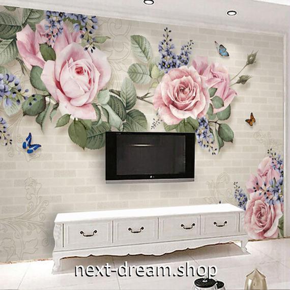3D 壁紙 1ピース 1㎡ 油絵風 レンガ ピンクローズ DIY リフォーム インテリア 部屋 寝室 防湿 防音 h03252