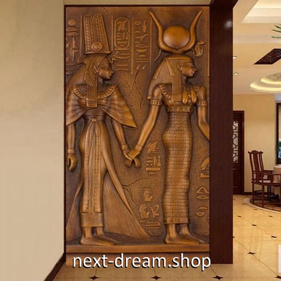 3D 壁紙 玄関用 1ピース 1㎡ 古代エジブト 壁画 ファラオ インテリア 装飾 部屋 耐水 防湿 耐衝撃 騒音吸収 h02722