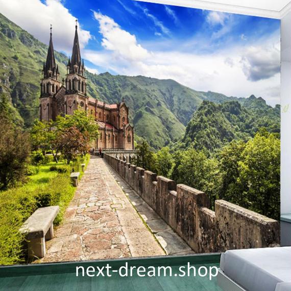 3D 壁紙 1ピース 1㎡ 自然風景 お城 山 ヨーロッパ インテリア 装飾 寝室 リビング h02150