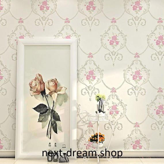 3D 壁紙 53×1000㎝ 花柄 ダマスク DIY 不織布 カビ対策 防湿 防水 吸音 インテリア 寝室 リビング h02043