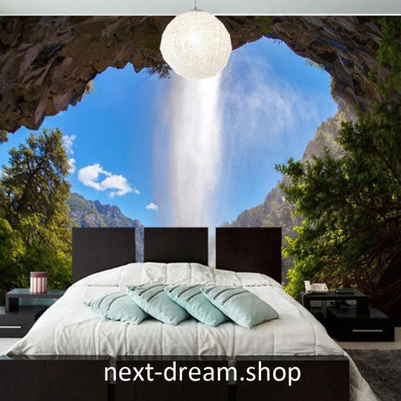 3D 壁紙 1ピース 1㎡ 自然風景 森林 滝つぼ 洞窟 おしゃれクロス インテリア 装飾 寝室 リビング h02160