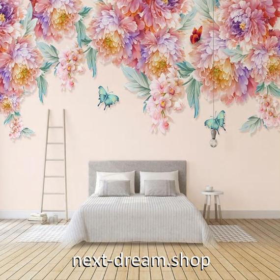 3D 壁紙 1ピース 1㎡ 花束 レトロ ピンク DIY リフォーム インテリア 部屋 寝室 防湿 防音 h03254