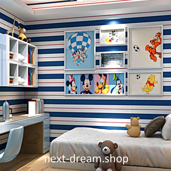 3D 壁紙 53×1000㎝ ストライプ トリコロール DIY 不織布 カビ対策 防湿 防水 吸音 寝室 リビング h02086